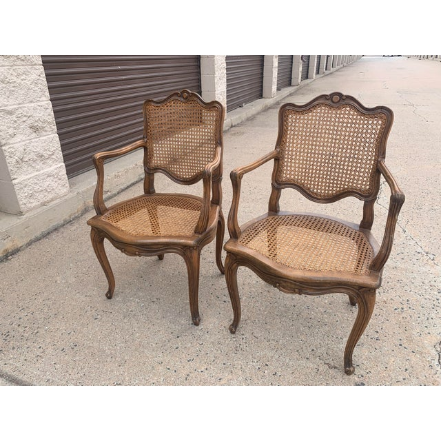 Early 20th Century French Louis XV Style Walnut Caned Fauteuils- a Pair For Sale In Denver - Image 6 of 13