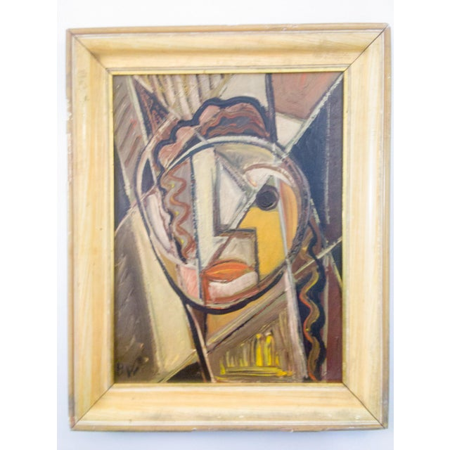 Mid 20th Century Portrait of Female Oil Painting by Signed BW For Sale - Image 5 of 5