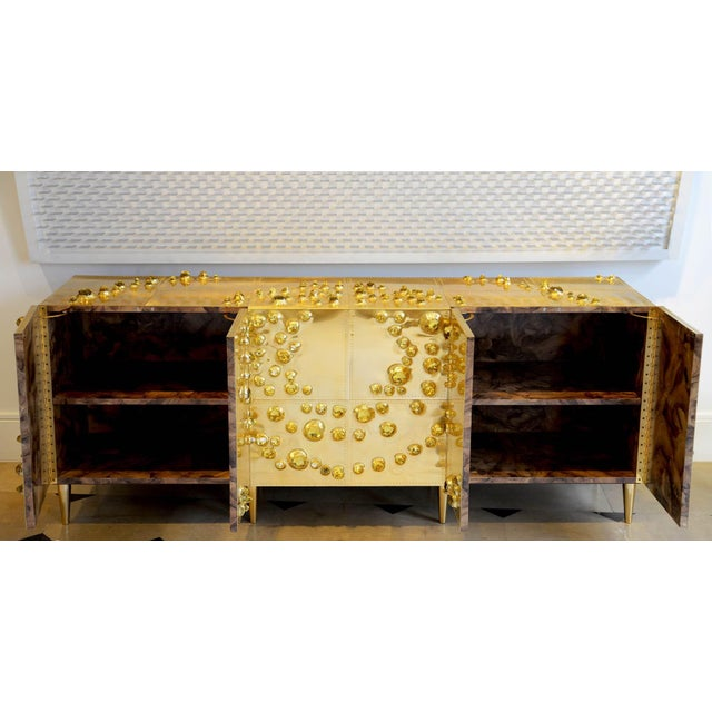 2010s Roberto Giulio Rida - Unique Sideboard Made of Brass, Wood, and Glass Crystals For Sale - Image 5 of 8