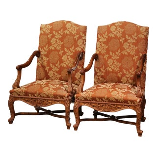 Pair of 19th Century Louis XV Carved Walnut Armchairs From Provence For Sale