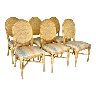 Vintage Rattan Dining Chairs- Set of 6 For Sale