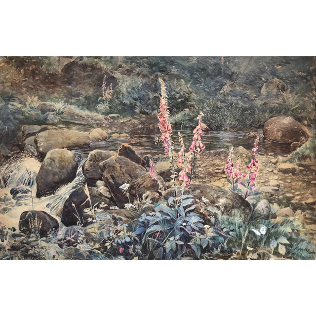 "Original antique English watercolor titled ""Fox Gloves by Stream"" signed by Joseph Poole Addey (1852-1922), dated 1889...."