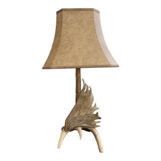 Vintage Antler Table Lamp With Shade For Sale