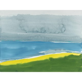 """Rob Delamater """"The End of Bluff Beach Road"""" Abstracted California Landscape in Gouache, 2016 For Sale"""