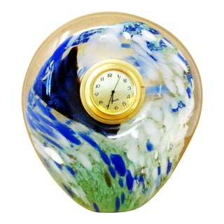 Murano Style Art Glass Clock For Sale
