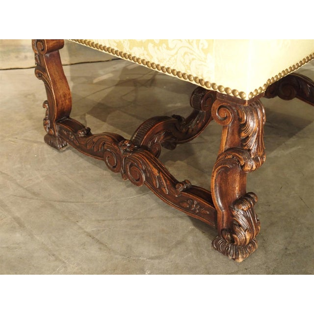 Circa 1890 Antique French Walnut Wood Armchair For Sale - Image 9 of 11