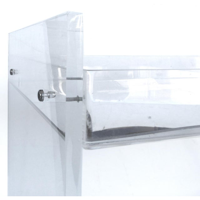 Early 21st Century Bi-Level Rolling Lucite Bar Cart with Mirrored Serving Surfaces For Sale - Image 5 of 7