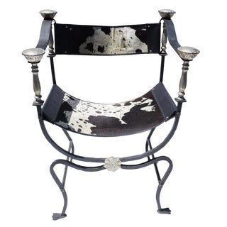 Italian Iron and Brass Savonarola Cowhide Chair For Sale