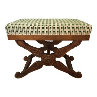 Scalamandre Upholstered Antique Stool For Sale