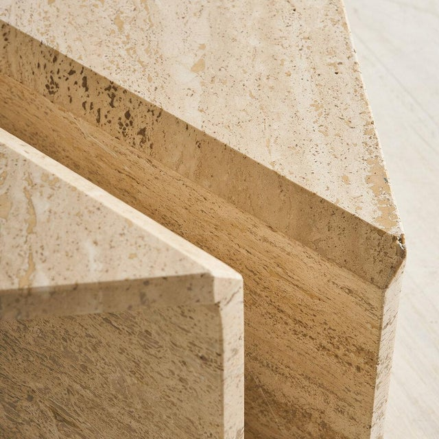 Stone Tiered Travertine Coffee Tables - a Pair For Sale - Image 7 of 12