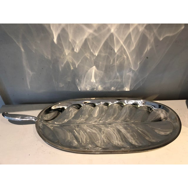 Beautiful vintage silver plate F.B. Rogers banana leaf shape serving tray. Marked on underside.