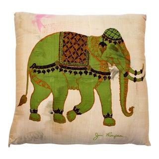Mid-Century Modern Jim Thompson Designer Decorative Pillow With Green Elephant For Sale