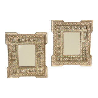 Middle Eastern Mother of Pearl Inlaid Mirrors - a Pair For Sale