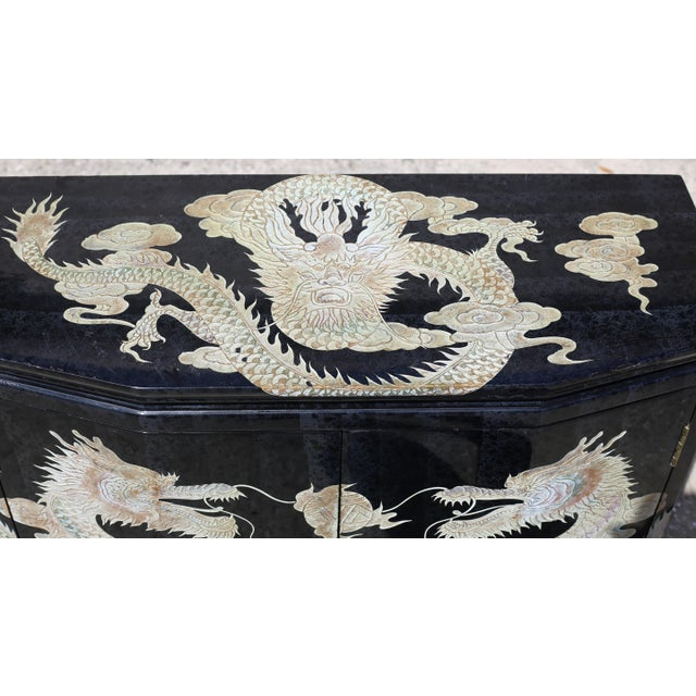 Vintage Chinoiserie Black Lacquered Cabinet With Carved Dragons For Sale - Image 4 of 12