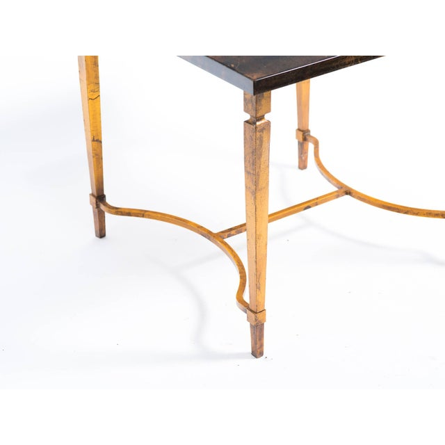 Aldo Tura Aldo Tura Goat Skin Side Table on Gold Finish Metal Base For Sale - Image 4 of 8