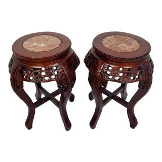 Vintage Chinese Carved Wood and Marble Plant Stands - a Pair For Sale