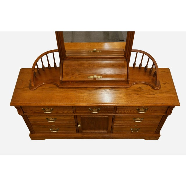 """Lexington Furniture Recollections Collection solid oak 64"""" triple door dresser with mirror. One white handle piece missing..."""