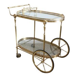 Vintage Maitland-Smith Style Brass Tea Cart For Sale