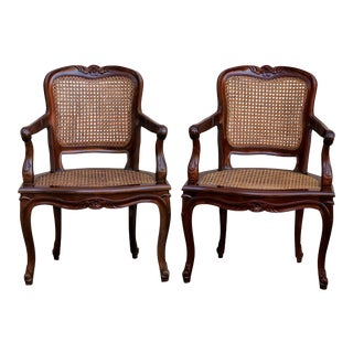 Double Caned Fauteuils - A Pair