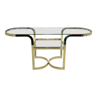 1970s Danish Modern Design Institute of America Dia Gold Glass Console For Sale