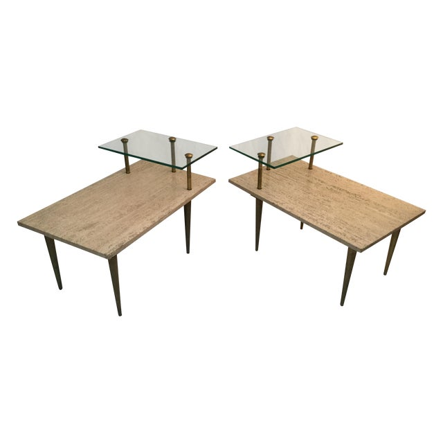 1950's Two Tear Travertine Side Tables - Pair - Image 1 of 11