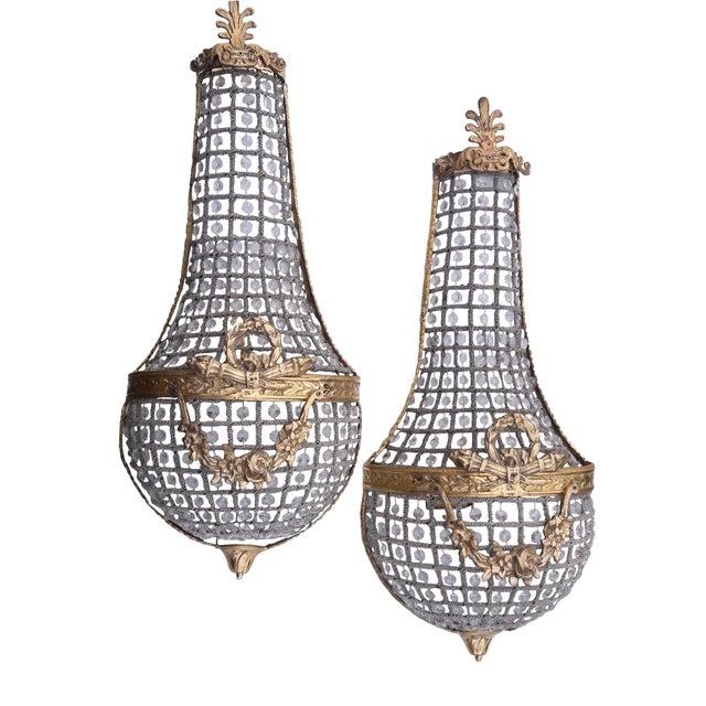 Gold Pair French Empire Basket Sconces Paris Apartment Large Pair Napoleon Sconces For Sale - Image 8 of 8