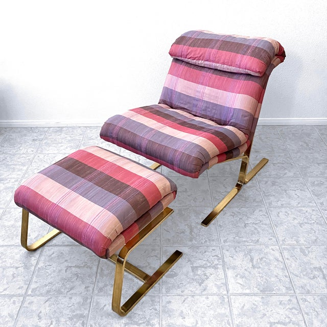 Mid-Century Modern Postmodern Brass Lounge Chair With Ottoman by Dansen For Sale - Image 3 of 10