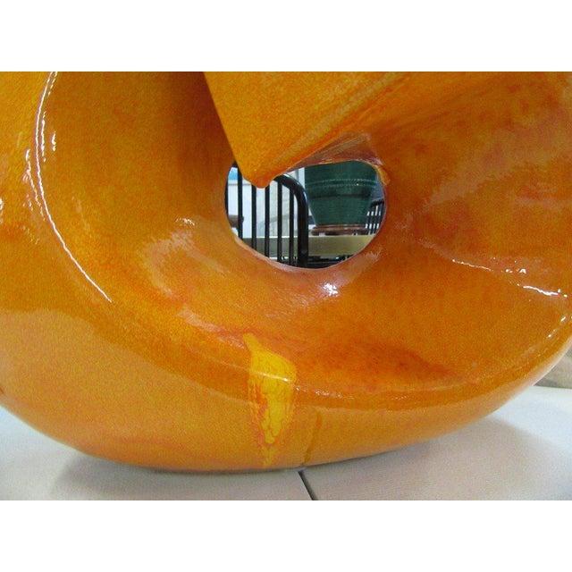 Modern Orange Stone Sculpture - Image 4 of 9