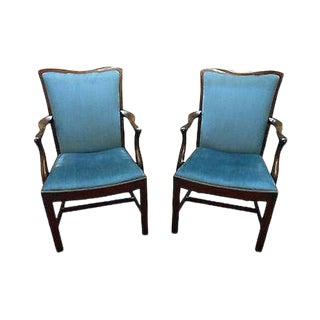 Schmieg & Kotzian Solid Mahogany Pair of Chippendale Style Arm Chairs For Sale