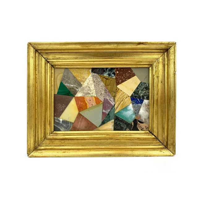 G. Ugolini Italian Pietra Dura Stone Framed Abstract Mosaic. 1950's. 27 different stones including Lapis and Malachite....