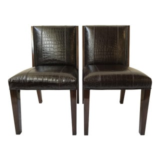 Ralph Lauren Home Modern Metropolis Leather Side Chairs - a Pair For Sale
