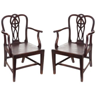 18th Century English Chippendale Arm Chairs - a Pair For Sale