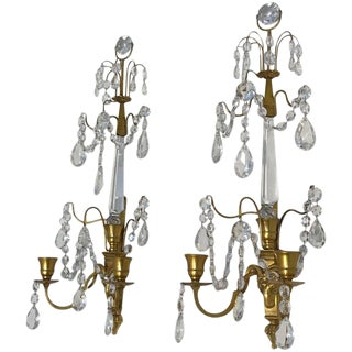 1900s Swedish Gustavian or Baltic Doré Gilt Bronze Rams Head Wall Sconces - a Pair