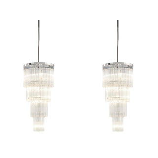 Hollywood Regency 5 Light Tiered Chrome Chandeliers - 2 For Sale