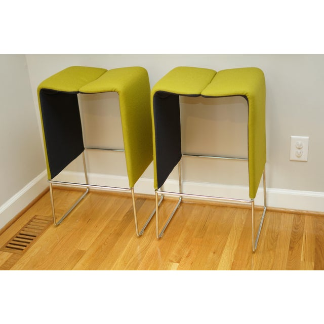 "This unique pair of barstools are designed by Nicole Aebischer. Dimensions: 18.5""W x 15.5""D x 30""H"