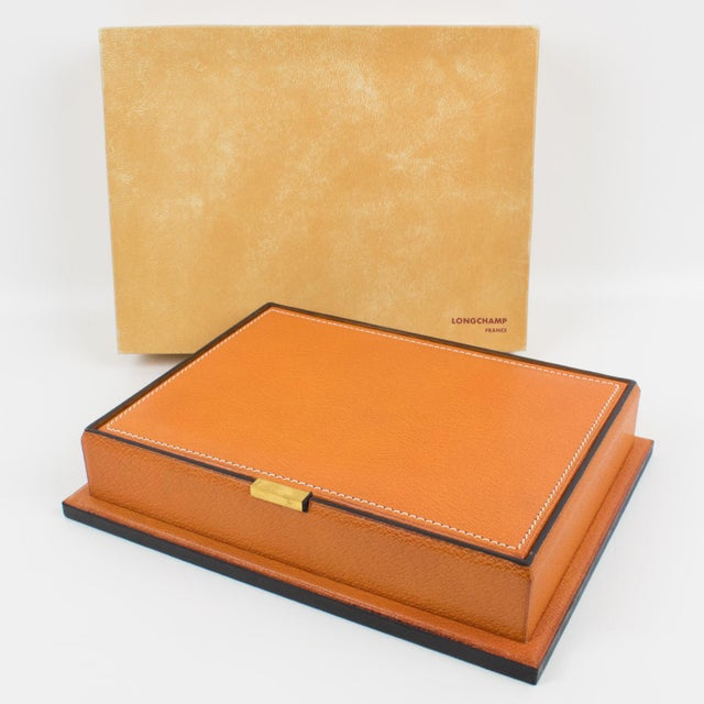 Longchamp Hand-Stitched Leather Box For Sale - Image 12 of 13