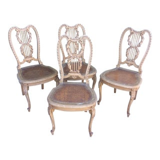 Italian Cane Seat Chairs, Set of 4 For Sale