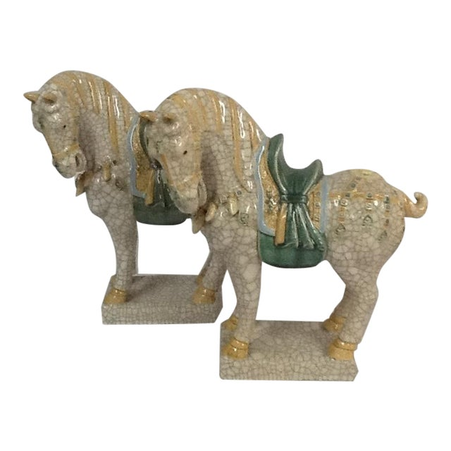 Italian Ceramic Crackle Horses - A Pair For Sale