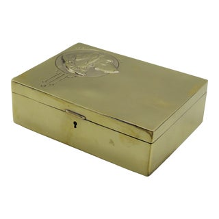 Early English Sporting Dog Brass Box For Sale