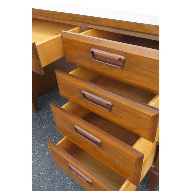 Mid Century Modern Large Writing Office Desk For Sale - Image 9 of 13