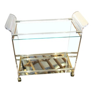 Lucite Brass & Mirror Bar Cart For Sale