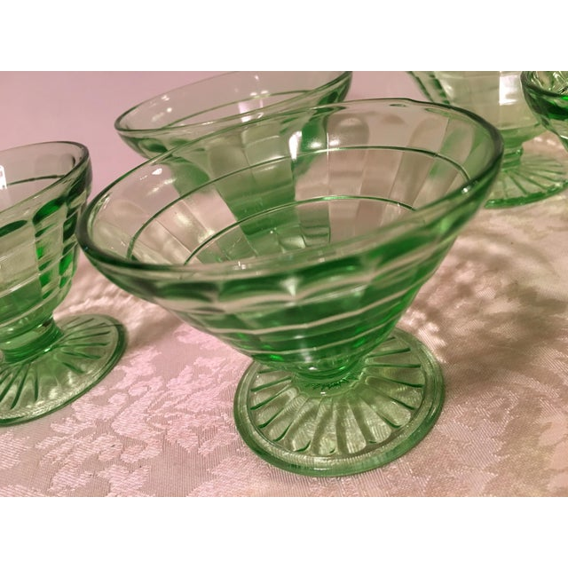 Glass Mid-Century Modern Green Uranium Glass Footed Sherbets - Set of 6 For Sale - Image 7 of 9
