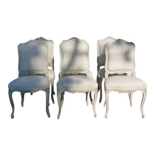 Set of 6 Painted 19th C Louis XV Upholstered Dining Chairs For Sale