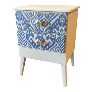 Mid-Century Table With Ikat Fabric Drawers
