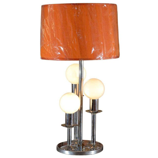 Mid Century Modern Chrome Lamp For Sale - Image 4 of 4