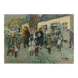 """1920s """"Performing Bear"""" Rustic European Village Scene Oil Painting by Richard Bloos For Sale"""