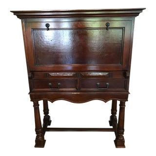 South Cone Trading Company Drop Front Mahogany Bar Cabinet For Sale