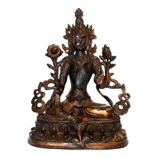 Vintage Gilded Tibetan Green Tara Sculpture For Sale