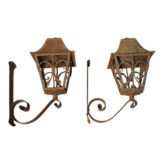1940s French Iron Lanterns - a Pair For Sale