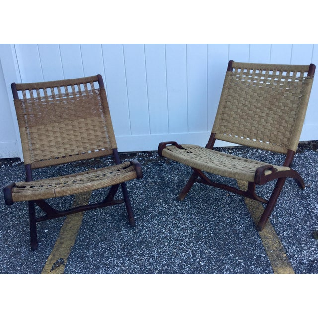 Hans Wegner Style Folding Rope Chairs - a Pair For Sale - Image 9 of 9